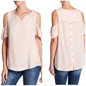 NWT Billy T. Dusty Pink Cold Shoulder Top Shirt